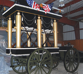 The catafalque that carried Davis's body through New Orleans for his first funeral in 1889. Courtesy: Louisiana State Museum