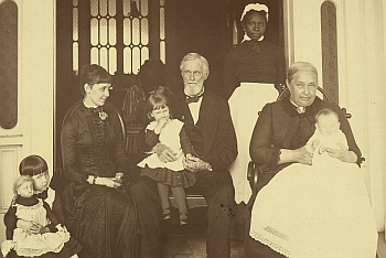 The Davis Family, ca. 1885.  Margaret sits to the far left. Varina holds little Jefferson Hayes.