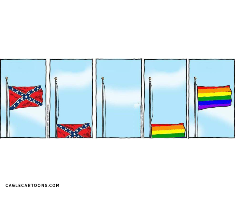 Confederate flag goes down, while Rainbow/Pride flag goes up.