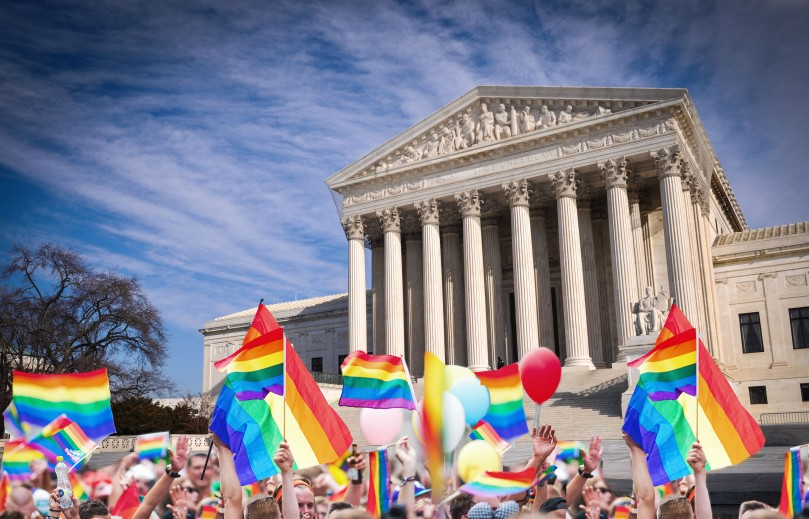 Pride flags outside of the Supreme Court